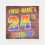 [ Thumbnail: Graffiti Rainbow Look 24th Birthday! + Custom Name Napkins ]