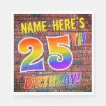 [ Thumbnail: Graffiti Rainbow Look 25th Birthday! + Custom Name Napkins ]