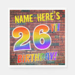 [ Thumbnail: Graffiti Rainbow Look 26th Birthday! + Custom Name Napkins ]