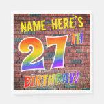 [ Thumbnail: Graffiti Rainbow Look 27th Birthday! + Custom Name Napkins ]