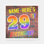 [ Thumbnail: Graffiti Rainbow Look 29th Birthday! + Custom Name Napkins ]