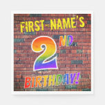 [ Thumbnail: Graffiti Rainbow Look 2nd Birthday! + Custom Name Napkins ]