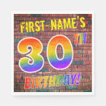 [ Thumbnail: Graffiti Rainbow Look 30th Birthday! + Custom Name Napkins ]