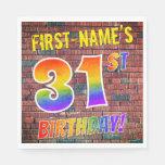 [ Thumbnail: Graffiti Rainbow Look 31st Birthday! + Custom Name Napkins ]