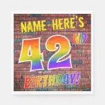 [ Thumbnail: Graffiti Rainbow Look 42nd Birthday! + Custom Name Napkins ]