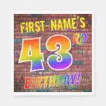 [ Thumbnail: Graffiti Rainbow Look 43rd Birthday! + Custom Name Napkins ]