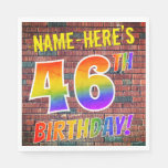 [ Thumbnail: Graffiti Rainbow Look 46th Birthday! + Custom Name Napkins ]