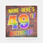 [ Thumbnail: Graffiti Rainbow Look 49th Birthday! + Custom Name Napkins ]