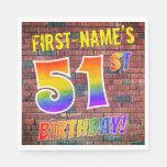 [ Thumbnail: Graffiti Rainbow Look 51st Birthday! + Custom Name Napkins ]