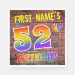 [ Thumbnail: Graffiti Rainbow Look 52nd Birthday! + Custom Name Napkins ]