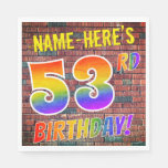[ Thumbnail: Graffiti Rainbow Look 53rd Birthday! + Custom Name Napkins ]