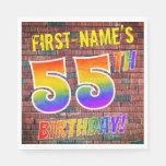 [ Thumbnail: Graffiti Rainbow Look 55th Birthday! + Custom Name Napkins ]