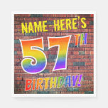[ Thumbnail: Graffiti Rainbow Look 57th Birthday! + Custom Name Napkins ]