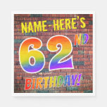 [ Thumbnail: Graffiti Rainbow Look 62nd Birthday! + Custom Name Napkins ]