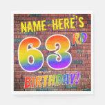 [ Thumbnail: Graffiti Rainbow Look 63rd Birthday! + Custom Name Napkins ]