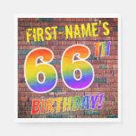 [ Thumbnail: Graffiti Rainbow Look 66th Birthday! + Custom Name Napkins ]