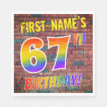 [ Thumbnail: Graffiti Rainbow Look 67th Birthday! + Custom Name Napkins ]