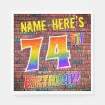 [ Thumbnail: Graffiti Rainbow Look 74th Birthday! + Custom Name Napkins ]