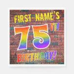 [ Thumbnail: Graffiti Rainbow Look 75th Birthday! + Custom Name Napkins ]