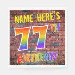 [ Thumbnail: Graffiti Rainbow Look 77th Birthday! + Custom Name Napkins ]
