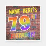[ Thumbnail: Graffiti Rainbow Look 79th Birthday! + Custom Name Napkins ]