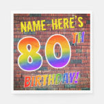 [ Thumbnail: Graffiti Rainbow Look 80th Birthday! + Custom Name Napkins ]