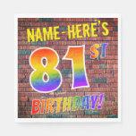 [ Thumbnail: Graffiti Rainbow Look 81st Birthday! + Custom Name Napkins ]