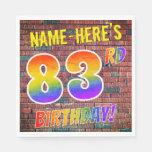[ Thumbnail: Graffiti Rainbow Look 83rd Birthday! + Custom Name Napkins ]