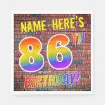 [ Thumbnail: Graffiti Rainbow Look 86th Birthday! + Custom Name Napkins ]