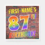 [ Thumbnail: Graffiti Rainbow Look 87th Birthday! + Custom Name Napkins ]