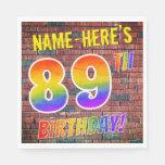 [ Thumbnail: Graffiti Rainbow Look 89th Birthday! + Custom Name Napkins ]