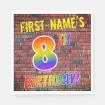 [ Thumbnail: Graffiti Rainbow Look 8th Birthday! + Custom Name Napkins ]