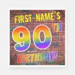 [ Thumbnail: Graffiti Rainbow Look 90th Birthday! + Custom Name Napkins ]
