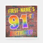[ Thumbnail: Graffiti Rainbow Look 91st Birthday! + Custom Name Napkins ]