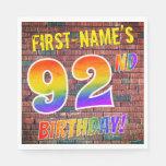 [ Thumbnail: Graffiti Rainbow Look 92nd Birthday! + Custom Name Napkins ]