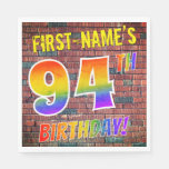 [ Thumbnail: Graffiti Rainbow Look 94th Birthday! + Custom Name Napkins ]