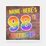 [ Thumbnail: Graffiti Rainbow Look 98th Birthday! + Custom Name Napkins ]