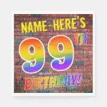 [ Thumbnail: Graffiti Rainbow Look 99th Birthday! + Custom Name Napkins ]
