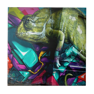 Graffiti reptile tile