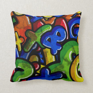 Graffiti Rumble Throw Pillow