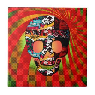 graffiti skull ceramic tile