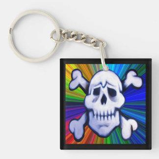graffiti skull on colorburst background key fob Single-Sided square acrylic keychain