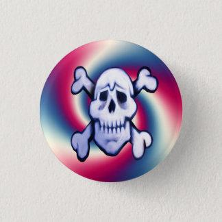 graffiti skull on retro background round button