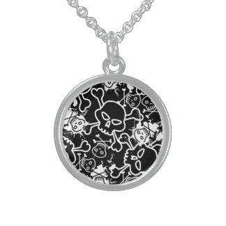 Graffiti skulls sterling silver necklace