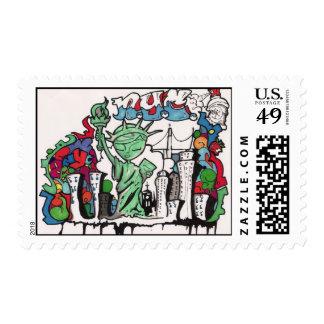 graffiti statue of liberty stamp