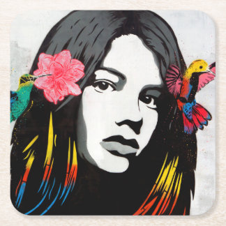 Graffiti Street Art Girl with Birds Square Paper Coaster