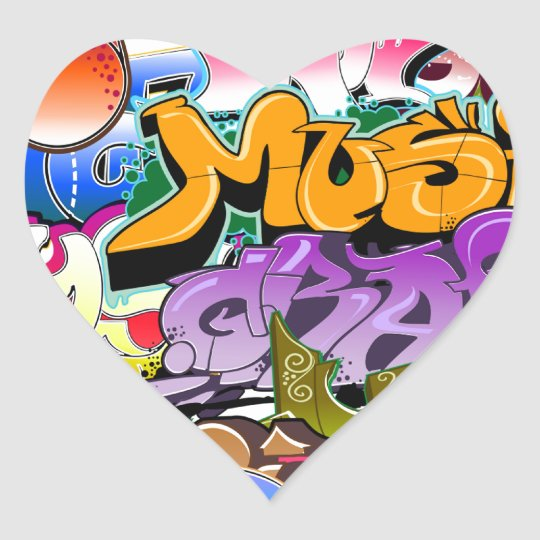 Graffiti Street Art Heart Sticker