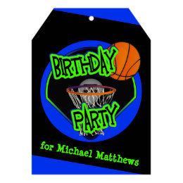 Graffiti Style Basketball and Hoop 9th Birthday Card