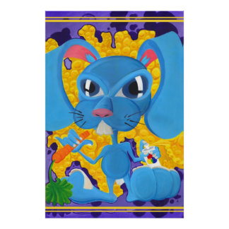 Graffiti Style Blue Bunny Poster