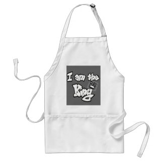 "Graffiti Style ""I am the King"" with crown Adult Apron"